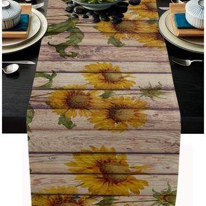 "Sunflowers Rustic Table Runner-Cotton Linen 108"""
